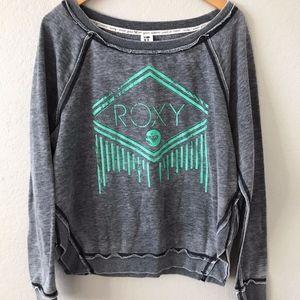 Roxy Gray Distressed Green Logo Scoop Sweatshirt